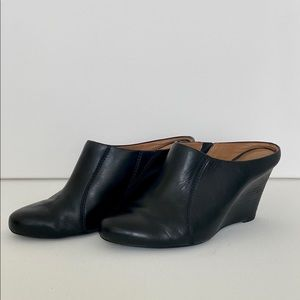 CLARKS black leather wedges